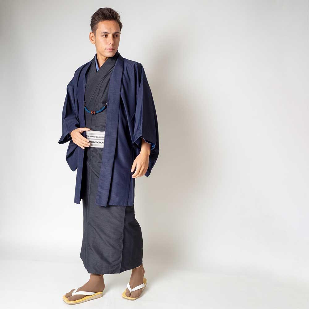 |送料無料|メンズ着物アンサンブル【対応身長175cm〜185cm】【 LLサイズ】フルセットー着物ブラック×羽織ネイビー|往復送料無料|和服|
