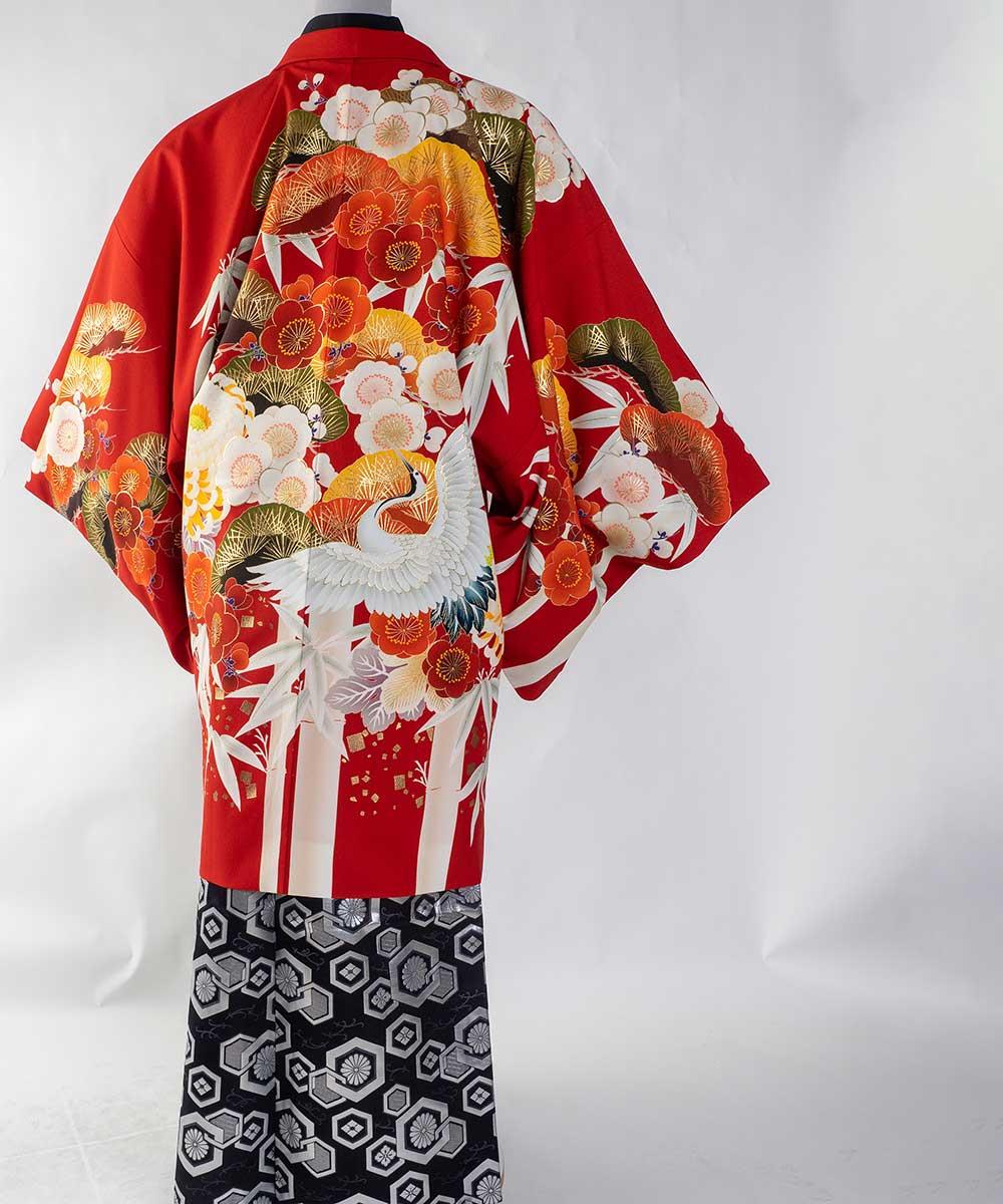 【レンタル】【成人式】安心の最大1ヶ月レンタル可能 男性用レンタル紋付き袴フルセット-7433