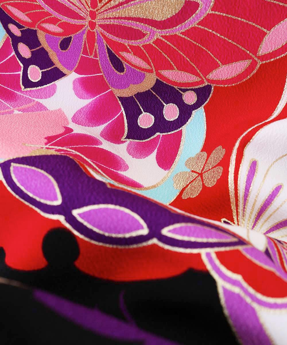 |送料無料|【対応身長157cm〜165cm】【キュート】卒業式レンタル袴フルセット-1040|マルチカラー|蝶|黒|臙脂|