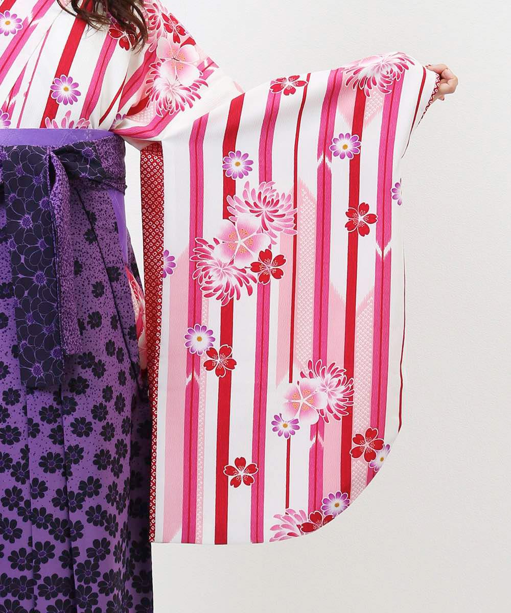 【h】|送料無料|【対応身長157cm〜165cm】【キュート】卒業式レンタル袴フルセット-752|マルチカラー|花柄|ストライプ|ピンク|白|紫|
