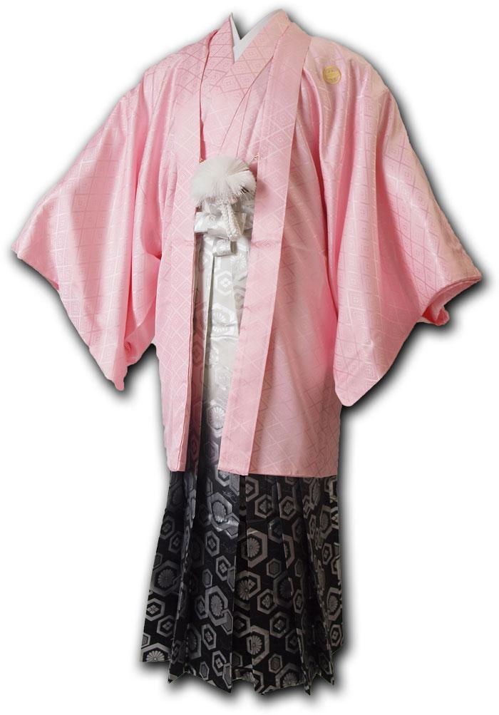 |送料無料|【成人式・卒業式】男性用レンタル紋付き袴フルセット-7066