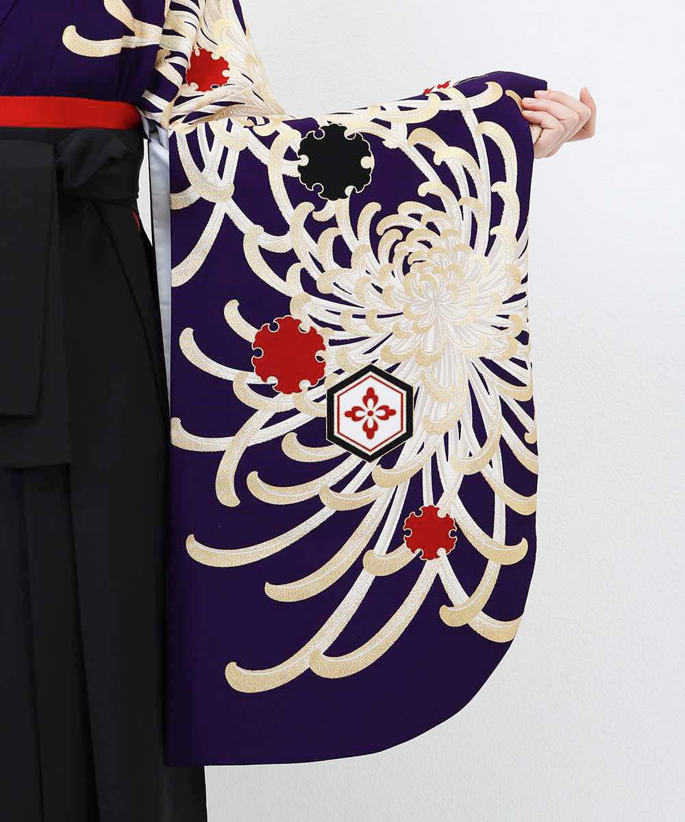 【h】|送料無料|【対応身長157cm〜165cm】【レトロ】卒業式レンタル袴フルセット-1041|マルチカラー|花柄|菊|紫|黒|赤|