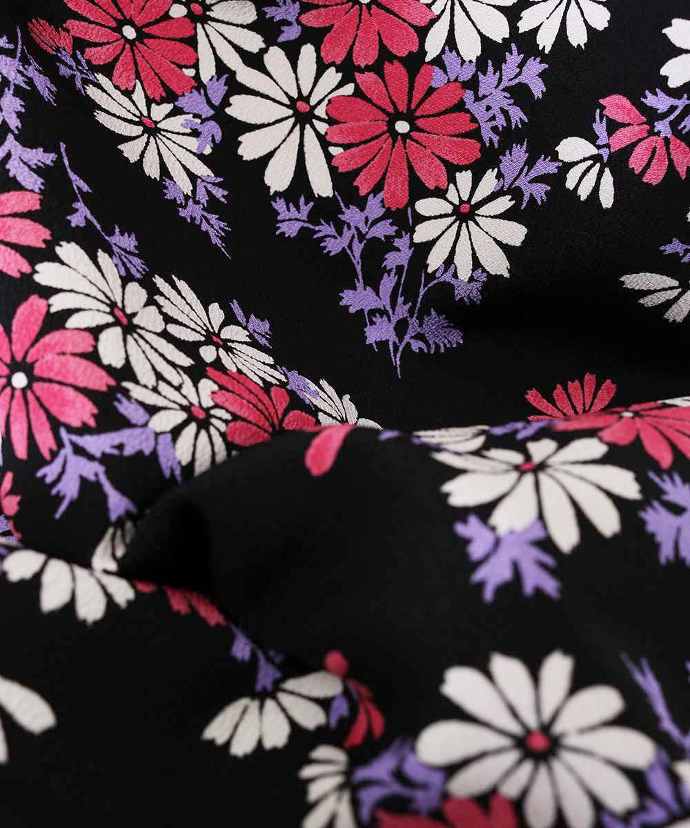 |送料無料|【対応身長150cm〜157cm】【レトロ】卒業式レンタル袴フルセット-867|マルチカラー|花柄|黒|紫|緑|