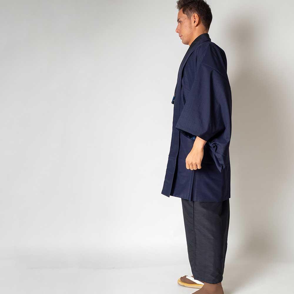 |送料無料|メンズ着物アンサンブル【対応身長165cm〜175cm】【 Mサイズ】フルセットー着物ブラック×羽織ネイビー|往復送料無料|和服|