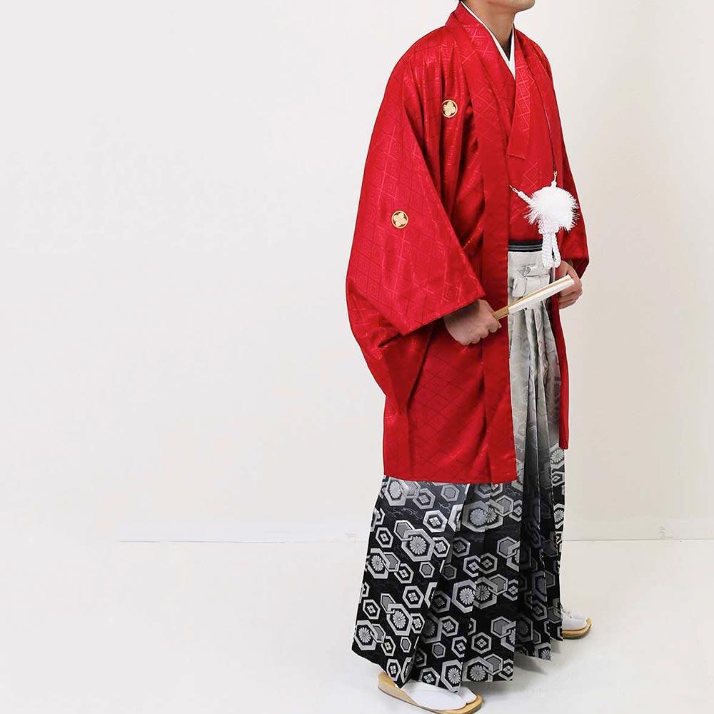 |送料無料|【成人式・卒業式】男性用レンタル紋付き袴フルセット-7228