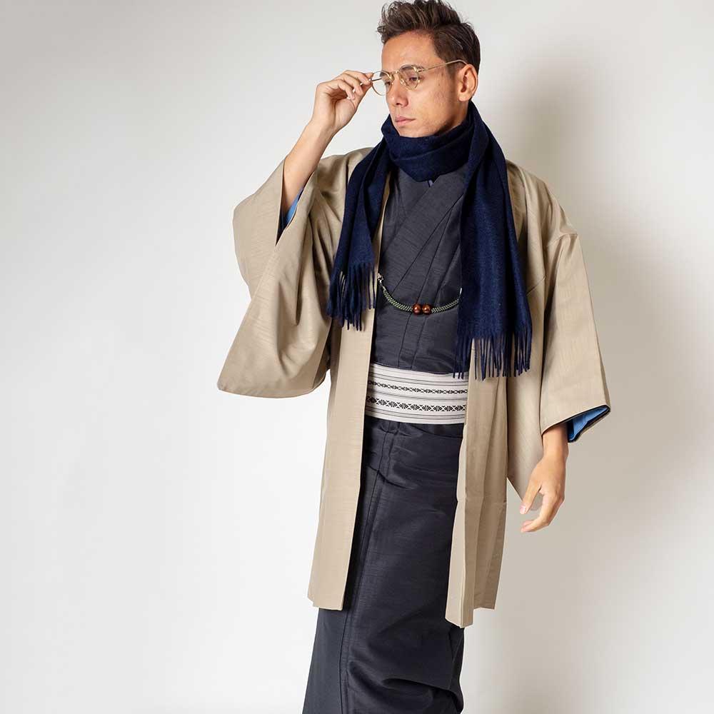 |送料無料|メンズ着物アンサンブル【対応身長175cm〜185cm】【 LLサイズ】フルセットー着物ブラック×羽織ベージュ|往復送料無料|和服|