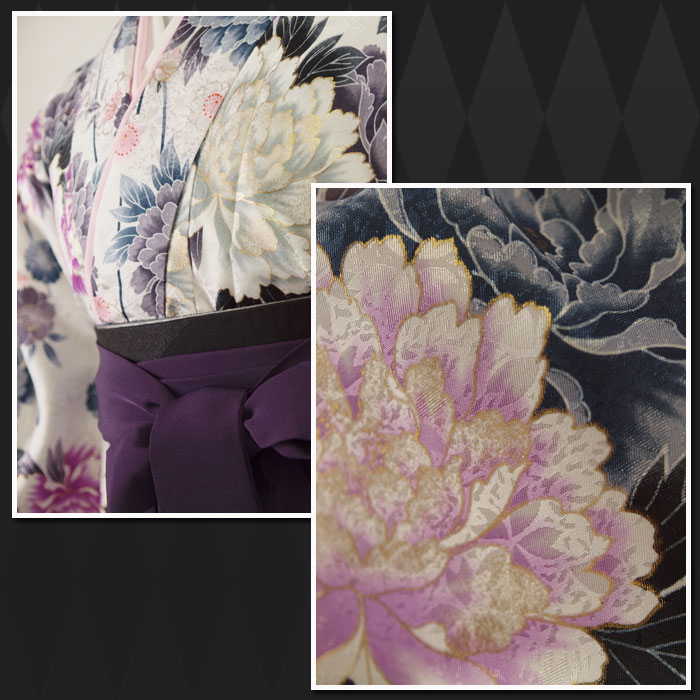 【h】 送料無料 【対応身長157cm〜165cm】【正統派】卒業式レンタル袴フルセット-1044 マルチカラー 花柄 牡丹 白 紫 グレー 紫