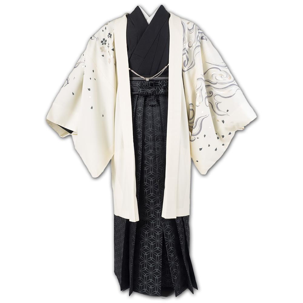  送料無料 【成人式・卒業式】男性用レンタル紋付き袴フルセット-7304