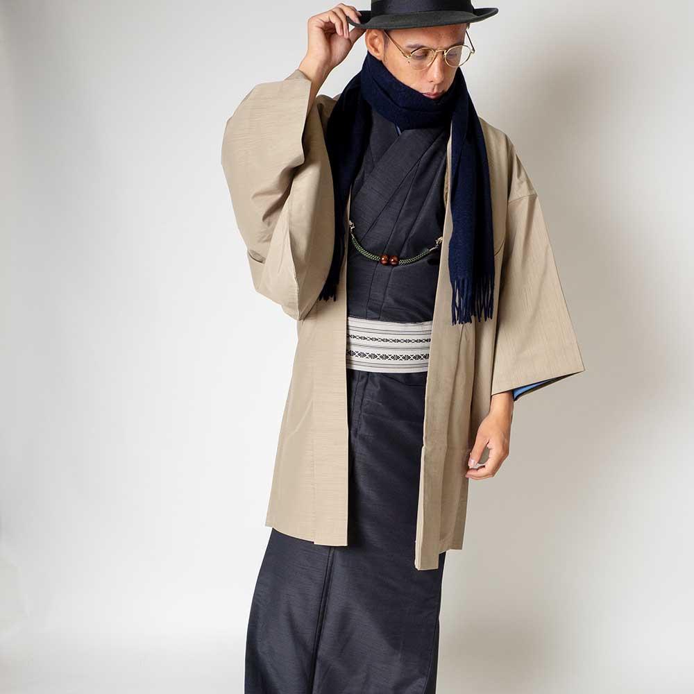  送料無料 メンズ着物アンサンブル【対応身長180cm〜190cm】【 3Lサイズ】フルセットー着物ブラック×羽織ベージュ 往復送料無料 和服 