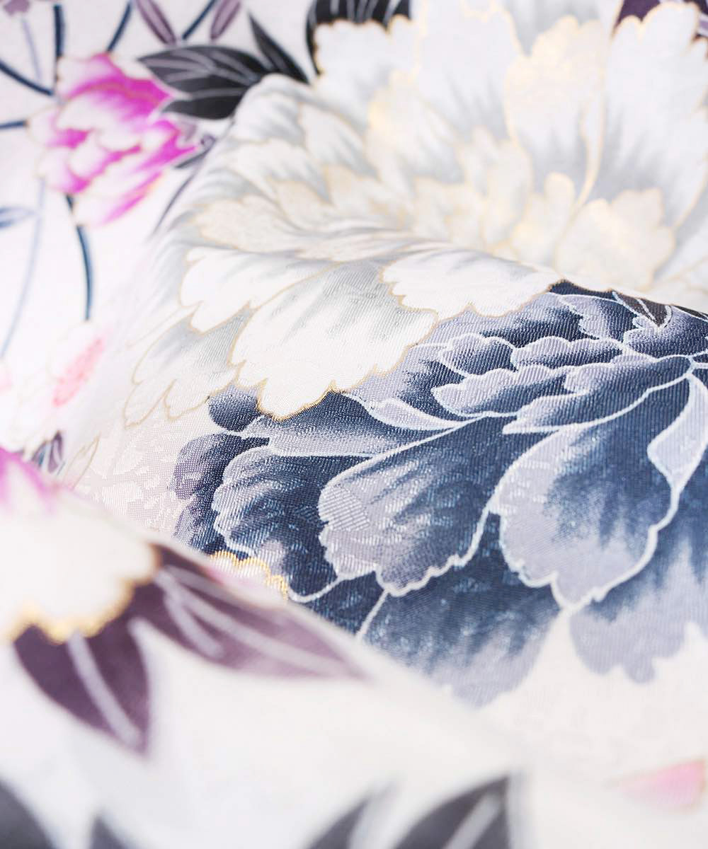 |送料無料|【対応身長157cm〜165cm】【キュート】卒業式レンタル袴フルセット-1046|マルチカラー|花柄|牡丹|白|グレー|ピンク|