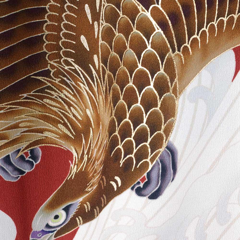 |送料無料|【成人式・卒業式】男性用レンタル紋付き袴フルセット-7306|ジャパンスタイル|鷹|龍|黒|赤|白|