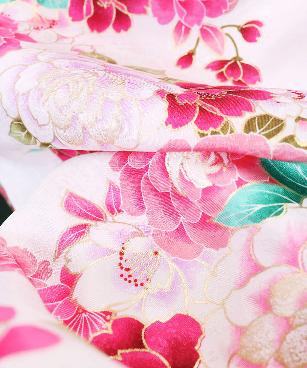 【h】|送料無料|【対応身長157cm〜165cm】【キュート】卒業式レンタル袴フルセット-1047|マルチカラー|花柄|牡丹|白|ピンク|緑|