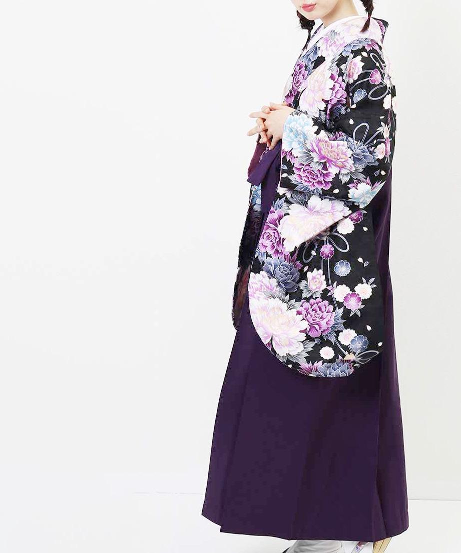 |送料無料|【対応身長157cm〜165cm】【キュート】卒業式レンタル袴フルセット-1048|マルチカラー|花柄|牡丹|黒|紫|