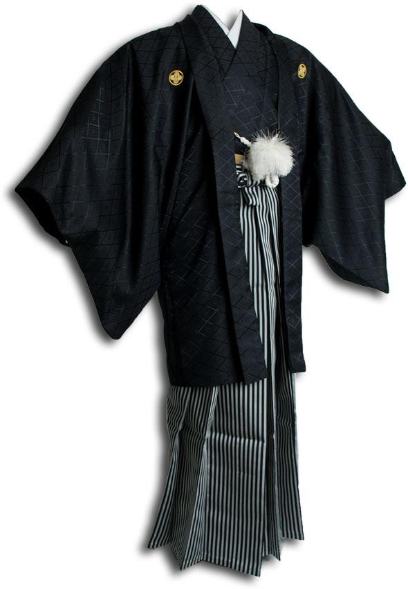 |送料無料|【成人式・卒業式】男性用レンタル紋付き袴フルセット-7074