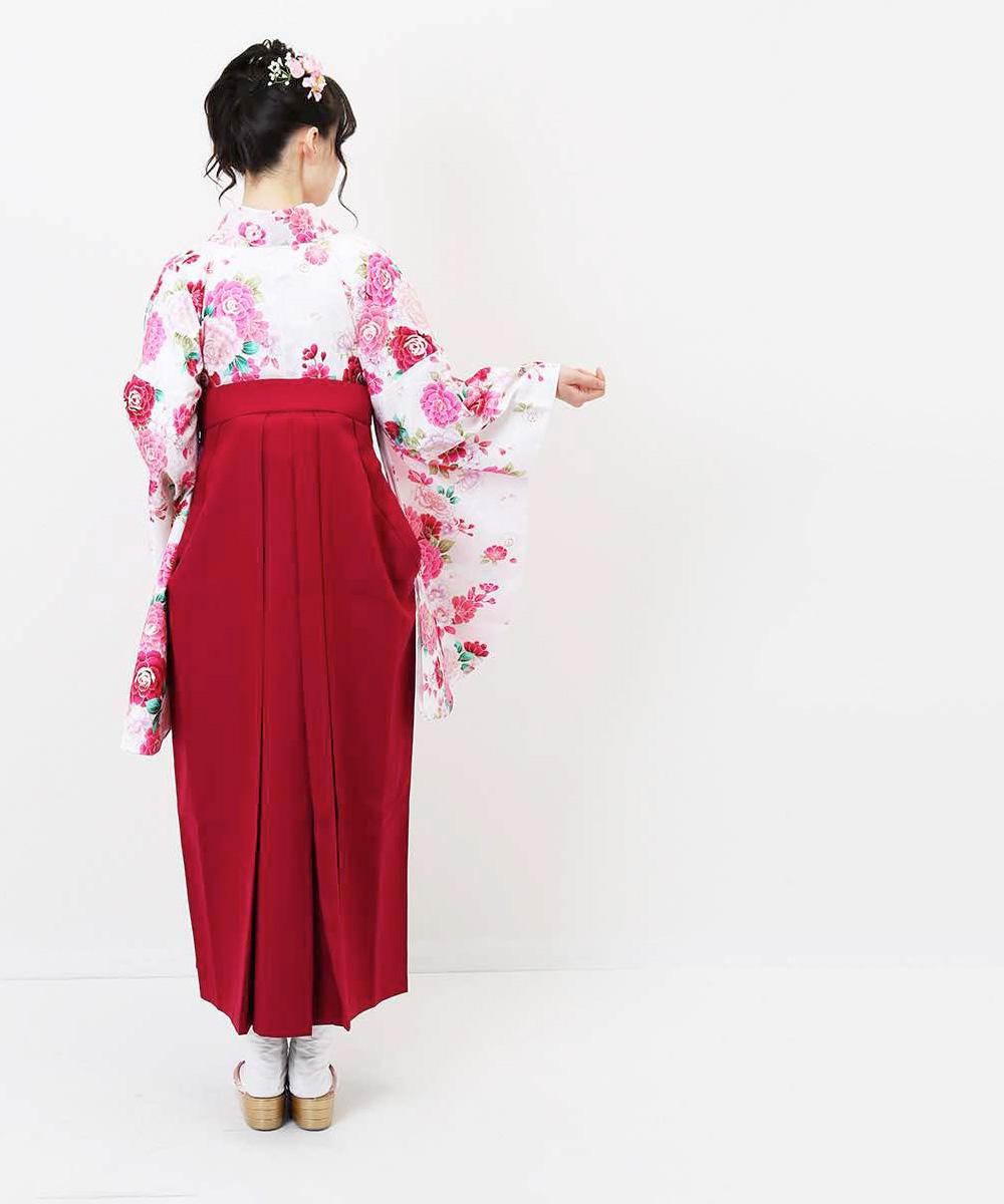 【h】|送料無料|【対応身長157cm〜165cm】【キュート】卒業式レンタル袴フルセット-1049|マルチカラー|花柄|牡丹|白|ピンク|赤|