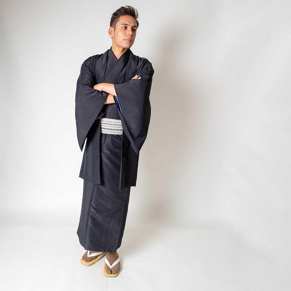 |送料無料|メンズ着物アンサンブル【対応身長165cm〜175cm】【 Mサイズ】フルセットー着物ブラック×羽織ブラック|往復送料無料|和服|