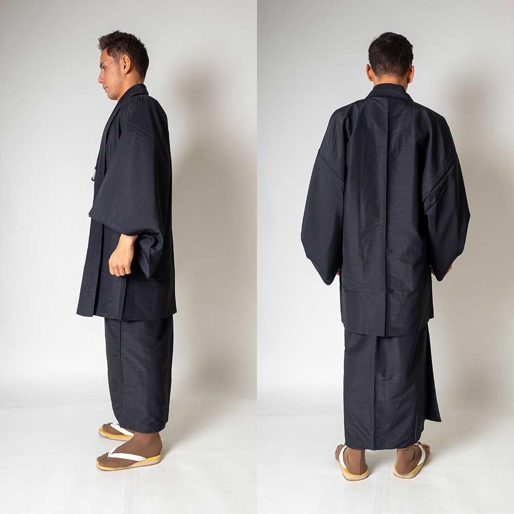 |送料無料|メンズ着物アンサンブル【対応身長160cm〜170cm】【 Sサイズ】フルセットー着物ブラック×羽織ブラック|往復送料無料|和服|