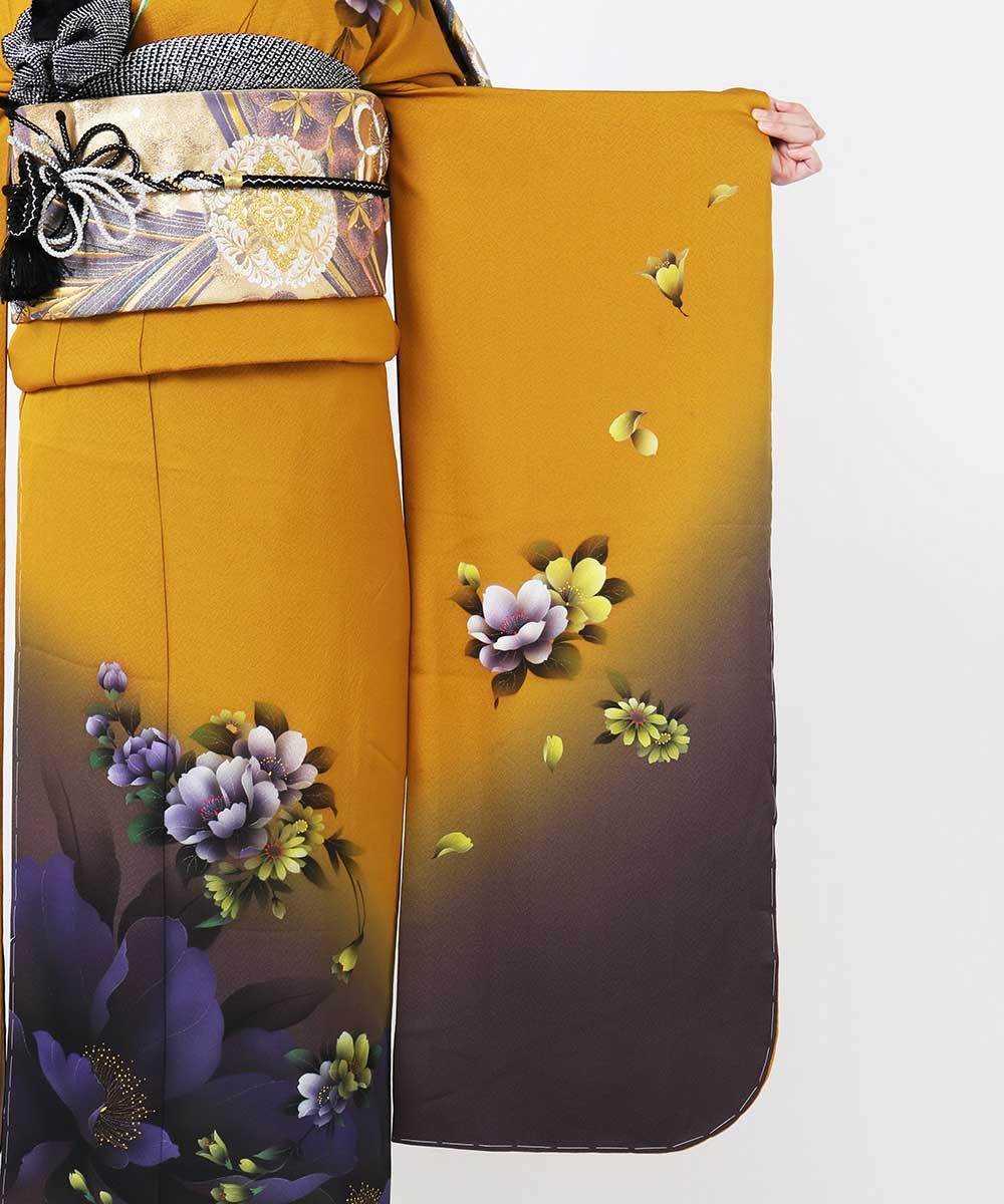|送料無料|【レンタル】【成人式】 [安心の長期間レンタル]【対応身長155cm〜170cm】【正絹】レンタル振袖フルセット-437|花柄|モダン|