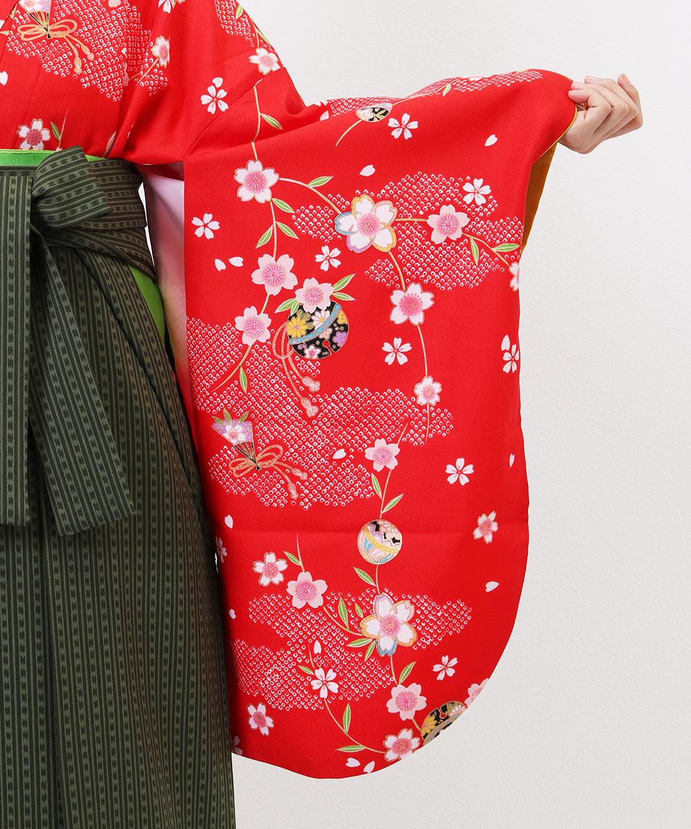 【h】|送料無料|【対応身長150cm〜157cm】【正統派】卒業式レンタル袴フルセット-1189|マルチカラー|花柄|桜|赤|緑|ストライプ|