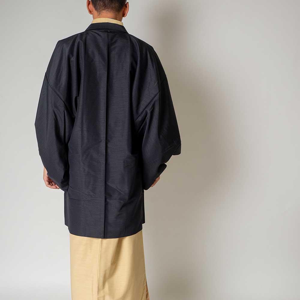 |送料無料|メンズ着物アンサンブル【対応身長175cm〜185cm】【 LLサイズ】フルセットー着物アイボリー×羽織ブラック|往復送料無料|和