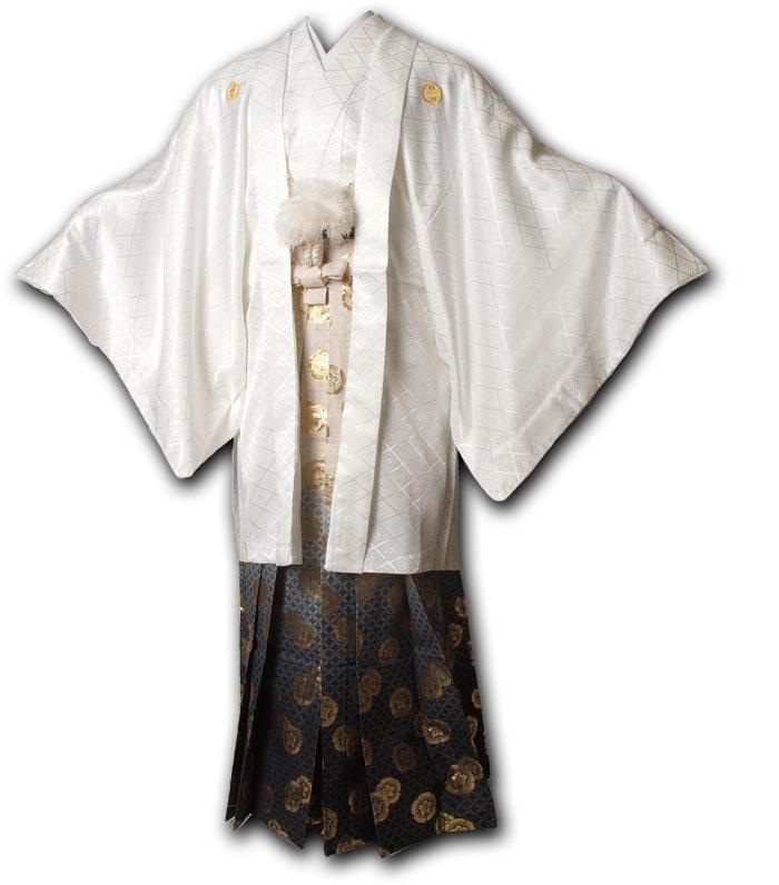 |送料無料|【成人式・卒業式】男性用レンタル紋付き袴フルセット-7077
