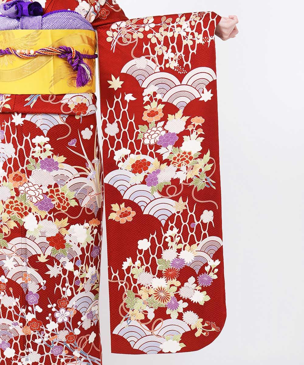 |送料無料|【レンタル】【成人式】 [安心の長期間レンタル]【対応身長155cm〜170cm】【正絹】レンタル振袖フルセット-114|花柄|レトロ|