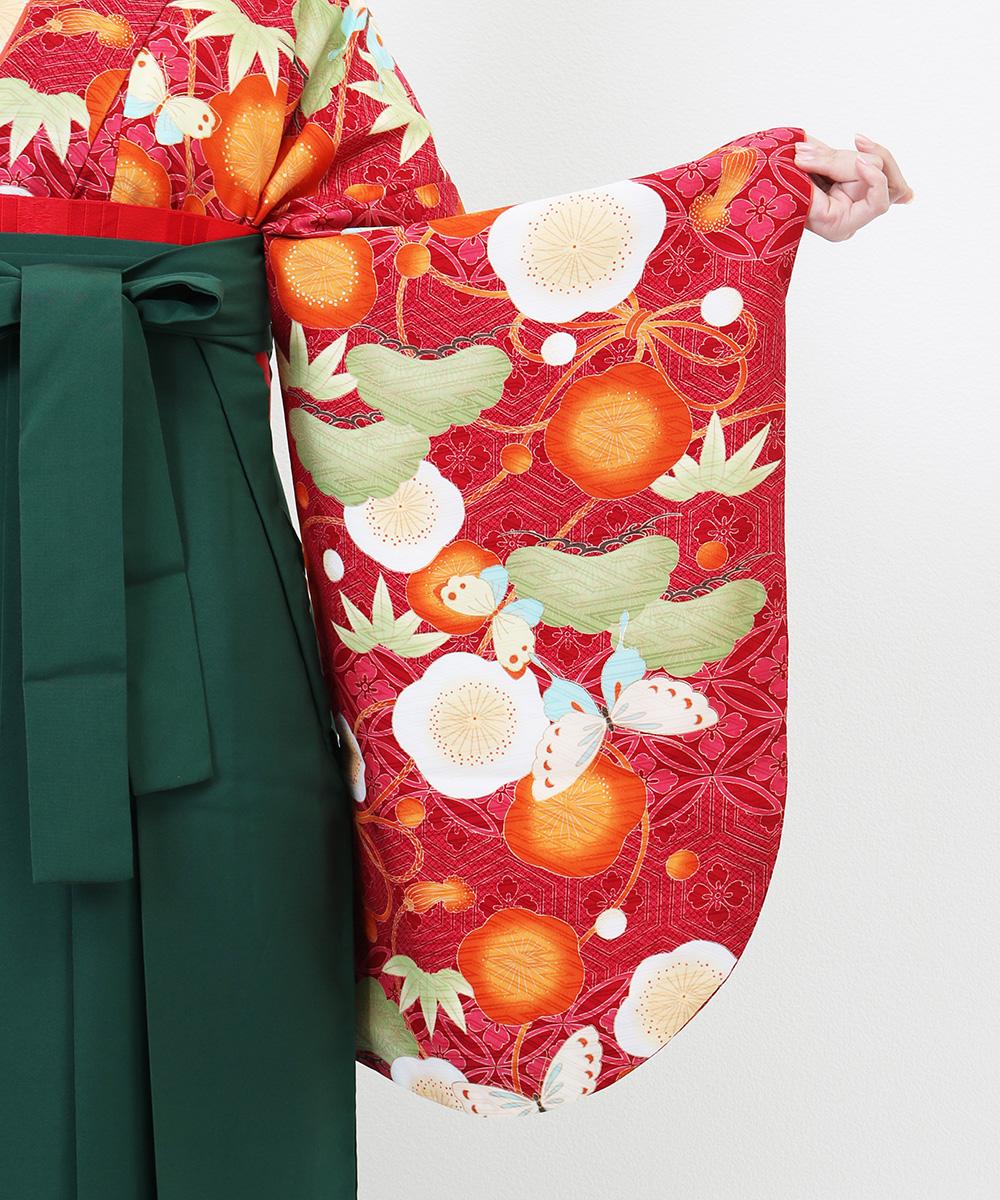 |送料無料|【対応身長157cm〜165cm】【正統派】卒業式レンタル袴フルセット-1190|マルチカラー|花柄|松|竹|梅|赤|オレンジ|緑
