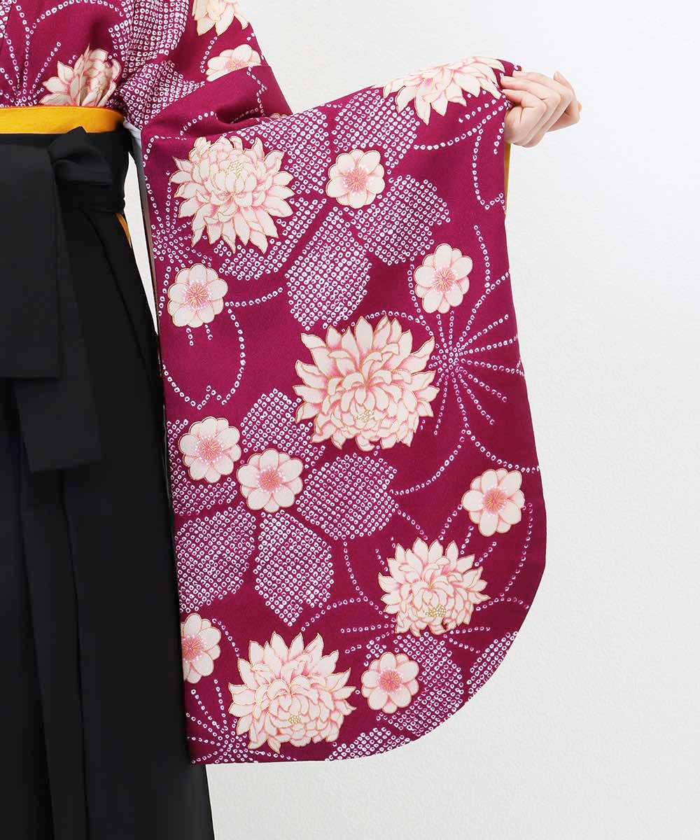 【h】|送料無料|【対応身長157cm〜165cm】【レトロ】卒業式レンタル袴フルセット-766|マルチカラー|花柄|桜|紫|黒|
