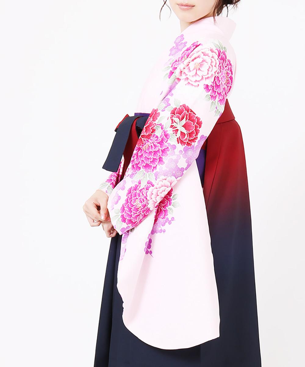 【h】|送料無料|【対応身長157cm〜165cm】【キュート】卒業式レンタル袴フルセット-879|マルチカラー|花柄|牡丹|ピンク|紫|赤|紺|