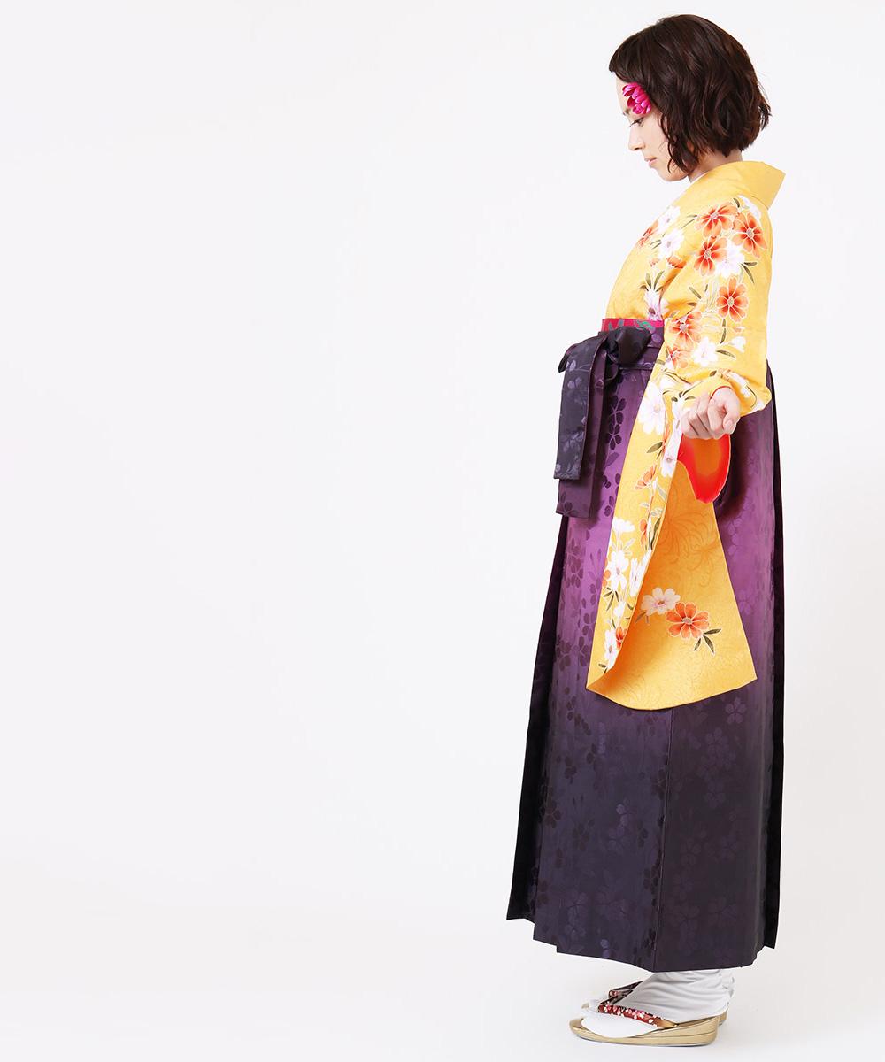 |送料無料|【対応身長157cm〜165cm】【キュート】卒業式レンタル袴フルセット-880|マルチカラー|花柄|パンジー|黄色|オレンジ|