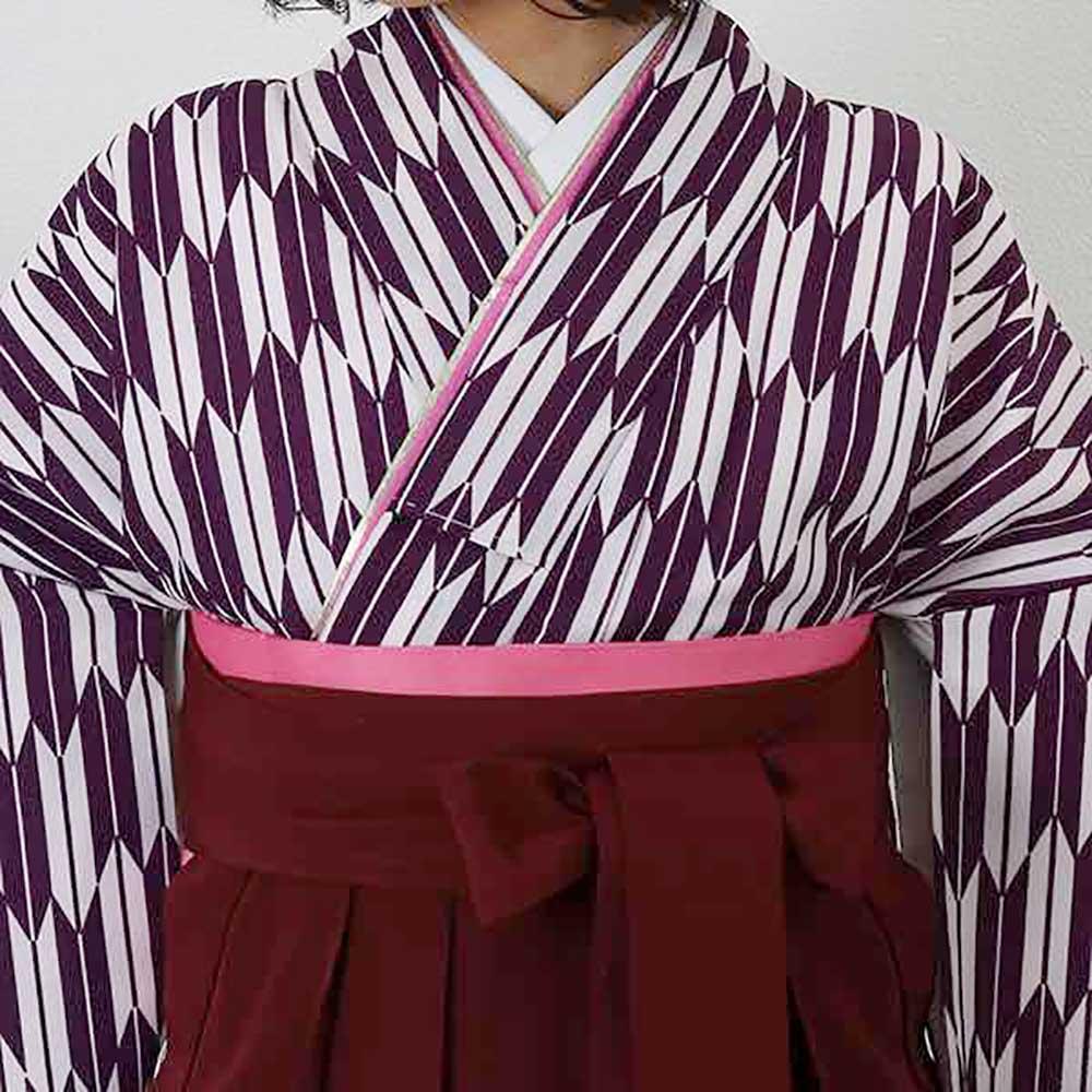 【h】|送料無料|【対応身長150cm〜157cm】卒業式レンタル袴フルセット-1925|マルチカラー|矢絣|紫|白|臙脂|