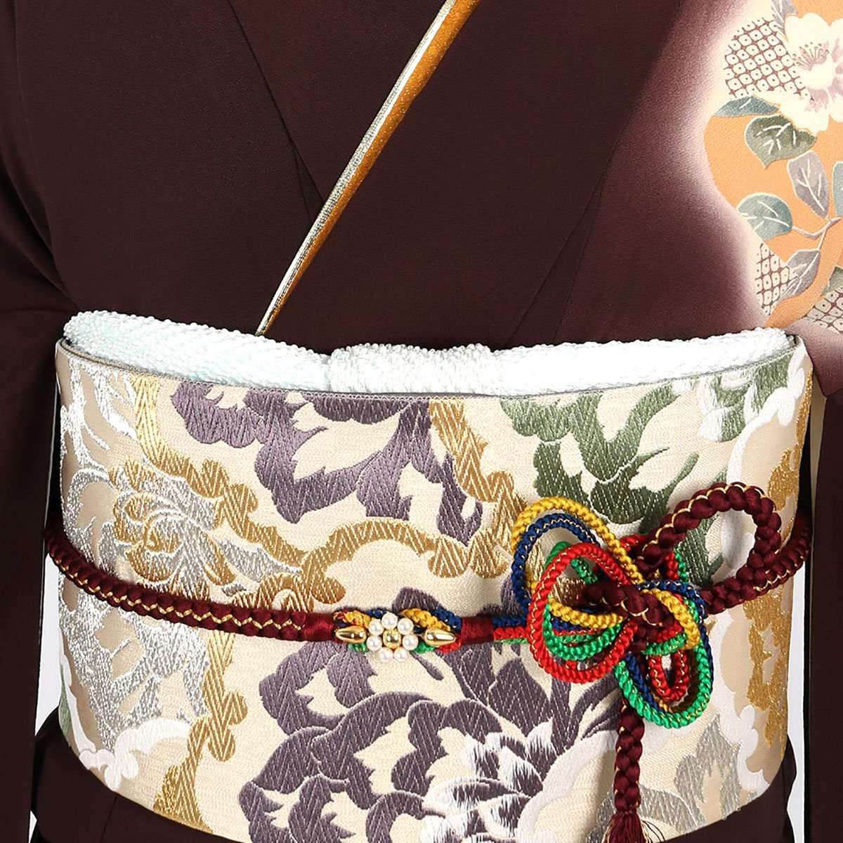 【成人式】 [安心の長期間レンタル]【対応身長155cm〜170cm】【正絹】レンタル振袖フルセット-440|レトロ|花柄|クール系|モダン|茶系|牡