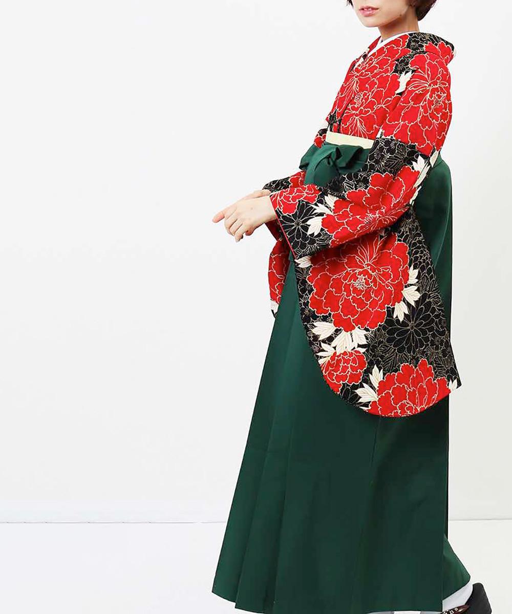 【h】|送料無料|【対応身長157cm〜165cm】【レトロ】卒業式レンタル袴フルセット-1054|マルチカラー|花柄|牡丹|赤|黒|緑|