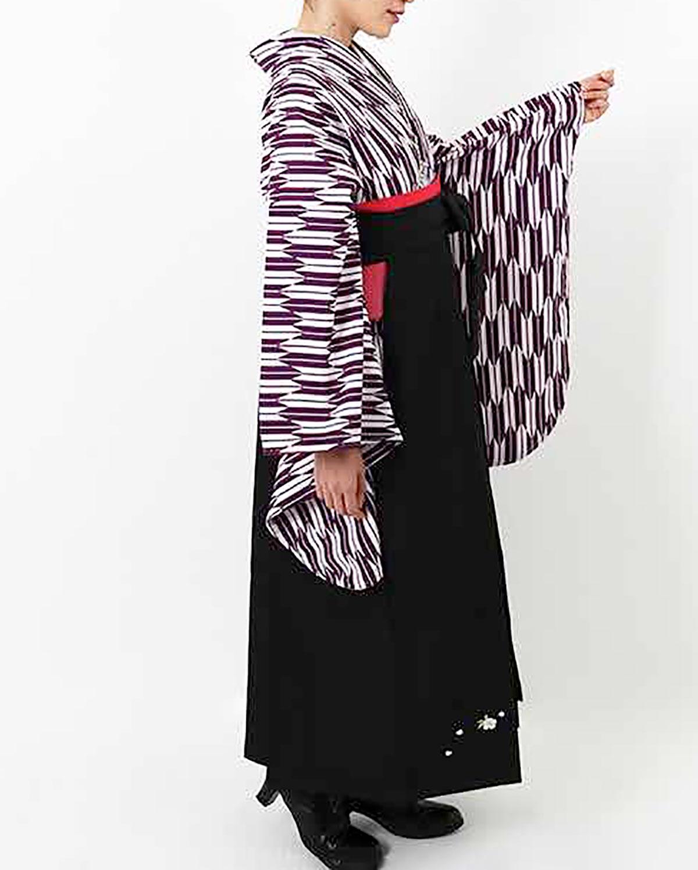 |送料無料|【対応身長150cm〜157cm】【正統派】卒業式レンタル袴フルセット-1926|矢絣|紫|白|紺|