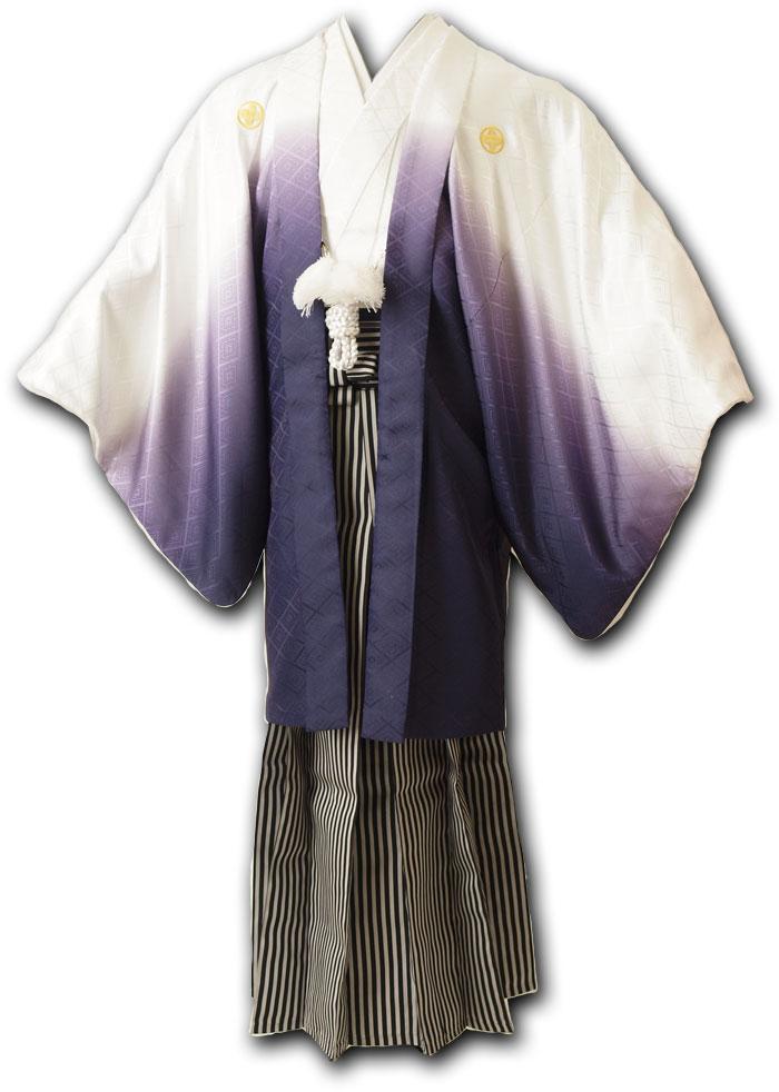 |送料無料|【成人式・卒業式】男性用レンタル紋付き袴フルセット-7248