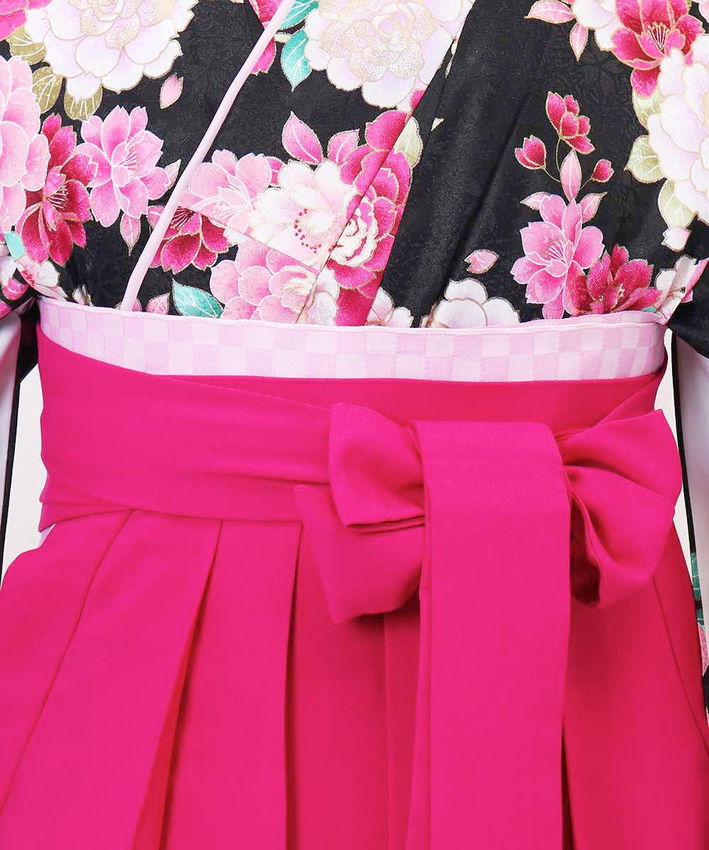 【h】|送料無料|【対応身長157cm〜165cm】【キュート】卒業式レンタル袴フルセット-1055|マルチカラー|花柄|牡丹|黒|ピンク|