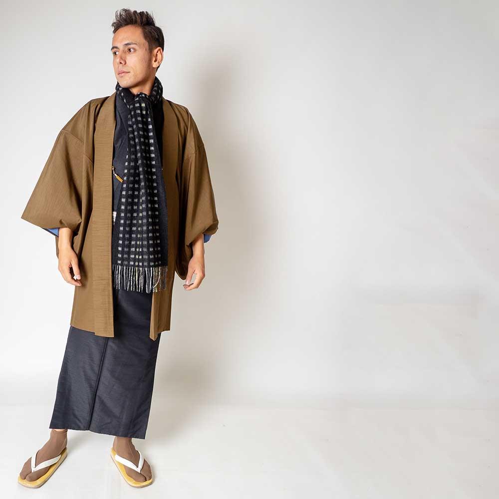 |送料無料|メンズ着物アンサンブル【対応身長175cm〜185cm】【 LLサイズ】フルセットー着物ブラック×羽織ブラウン|往復送料無料|和服|