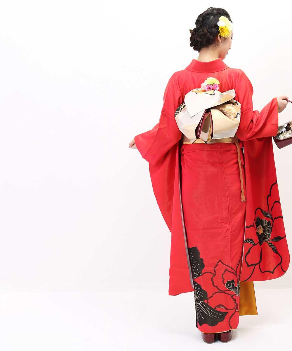 |送料無料|【レンタル】【成人式】 [安心の長期間レンタル]【対応身長155cm〜170cm】【正絹】レンタル振袖フルセット-338|花柄|レトロ|