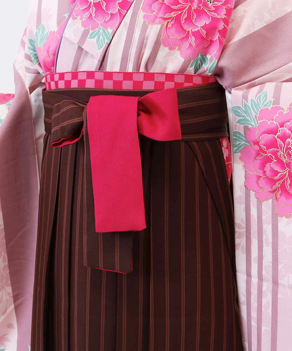 【h】|送料無料|【対応身長157cm〜165cm】【キュート】卒業式レンタル袴フルセット-1194|マルチカラー|花柄|牡丹|ストライプ|ピン