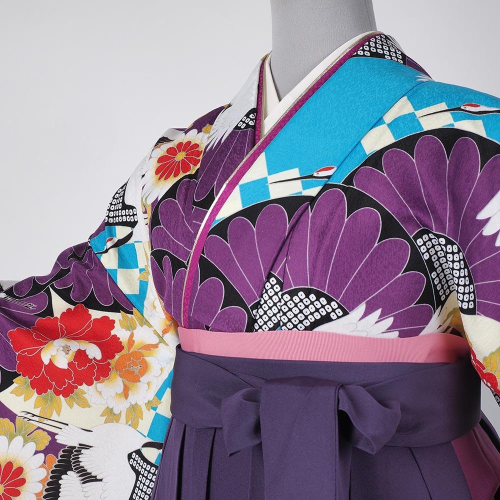 |送料無料|【レンタル】【uuu】卒業式レンタル袴フルセット(袖の長い、振り袖スタイル)-8002