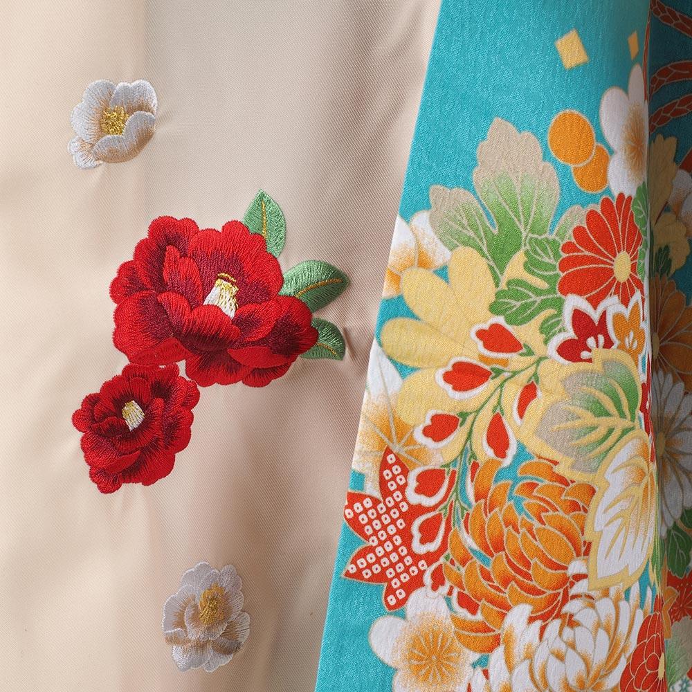 |送料無料|【レンタル】【uuu】卒業式レンタル袴フルセット(袖の長い、振り袖スタイル)-8003