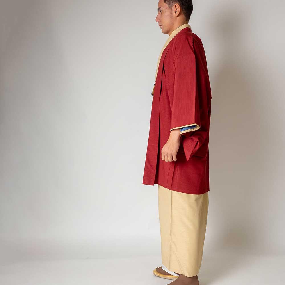 |送料無料|メンズ着物アンサンブル【対応身長165cm〜175cm】【 Mサイズ】フルセットー着物アイボリー×羽織レッド|往復送料無料|和服|