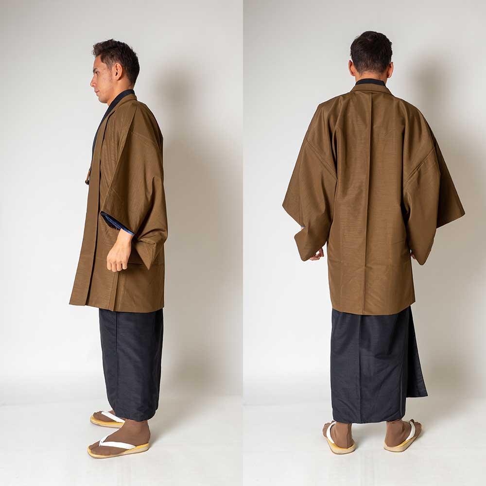 |送料無料|メンズ着物アンサンブル【対応身長165cm〜175cm】【 Mサイズ】フルセットー着物ブラック×羽織ブラウン|往復送料無料|和服|