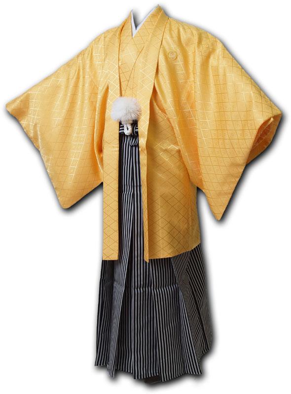 |送料無料|【成人式・卒業式】男性用レンタル紋付き袴フルセット-7083