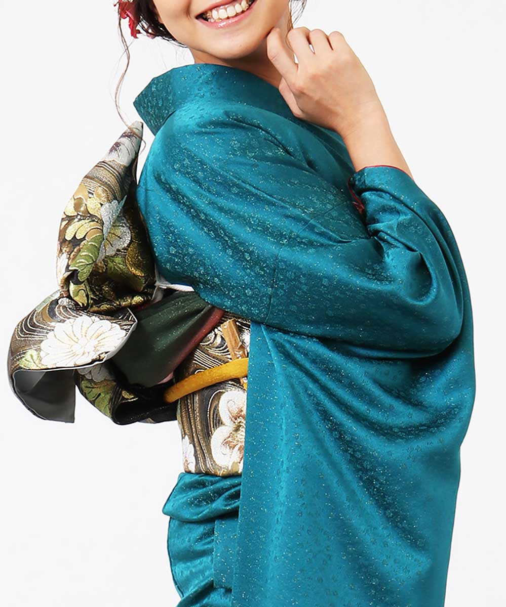 |送料無料|【レンタル】【成人式】 [安心の長期間レンタル]【対応身長155cm〜170cm】【正絹】レンタル振袖フルセット-444|花柄|モダン|