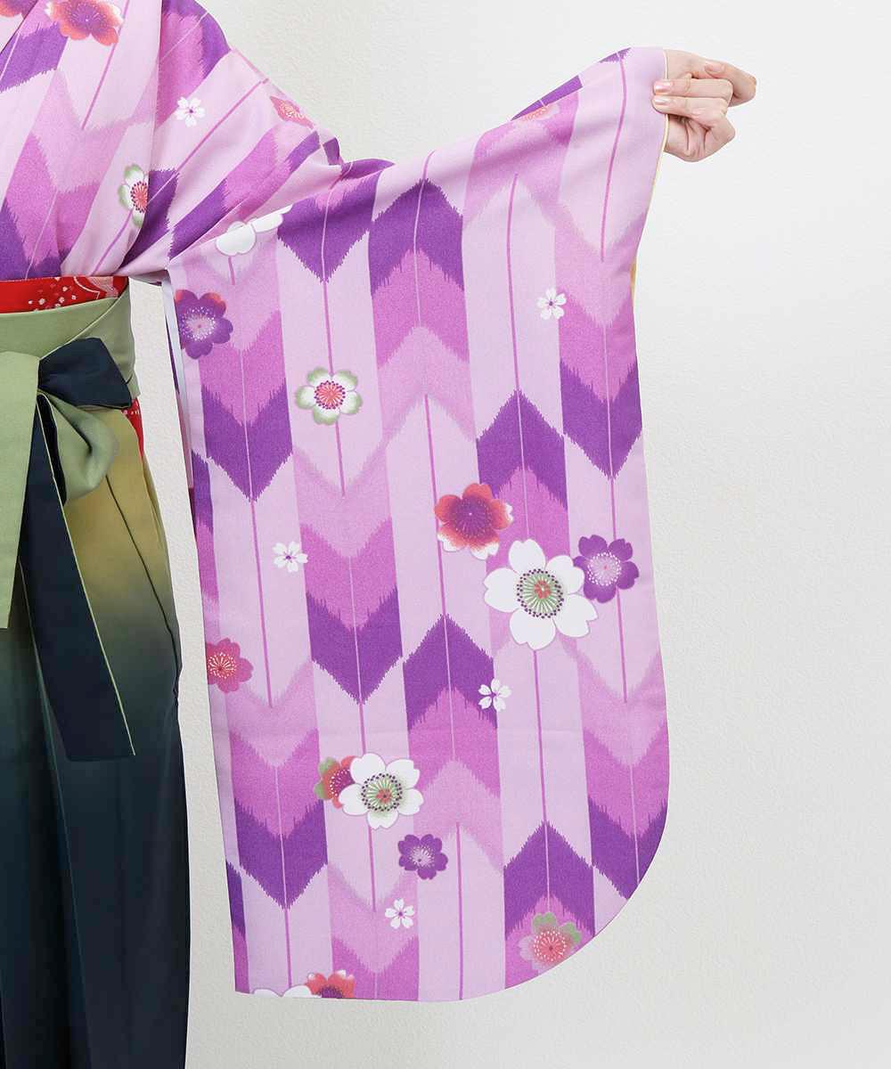 【h】|送料無料|【対応身長157cm〜165cm】【レトロ】卒業式レンタル袴フルセット-885|マルチカラー|花柄|桜|ピンク|紫|緑|