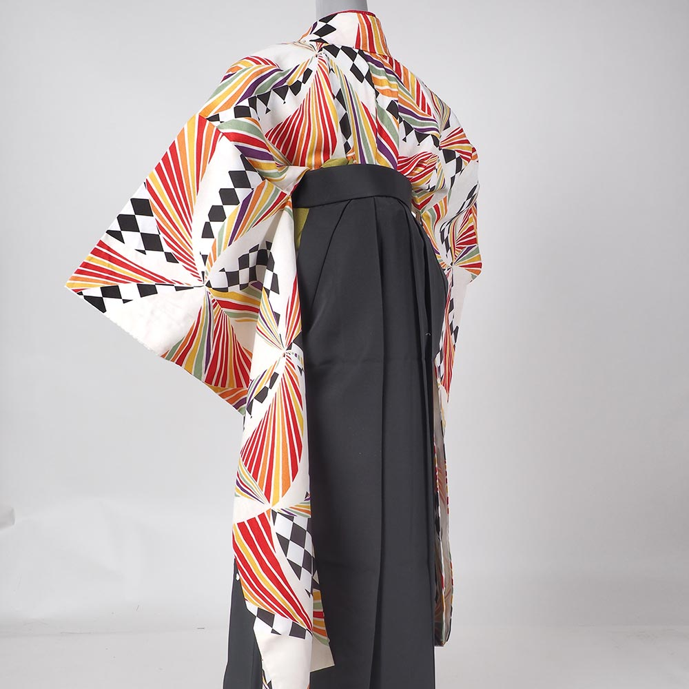 |送料無料|【レンタル】【uuu】卒業式レンタル袴フルセット(袖の長い、振り袖スタイル)-8004