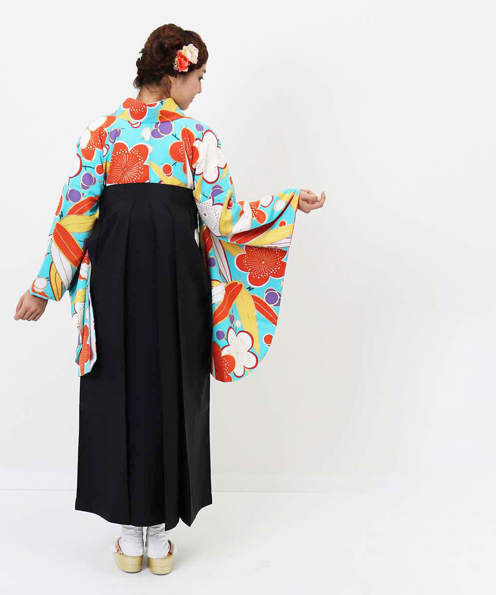 |送料無料|【対応身長157cm〜165cm】【レトロ】卒業式レンタル袴フルセット-993|マルチカラー|花柄|梅|松|水色|黒|オレンジ|