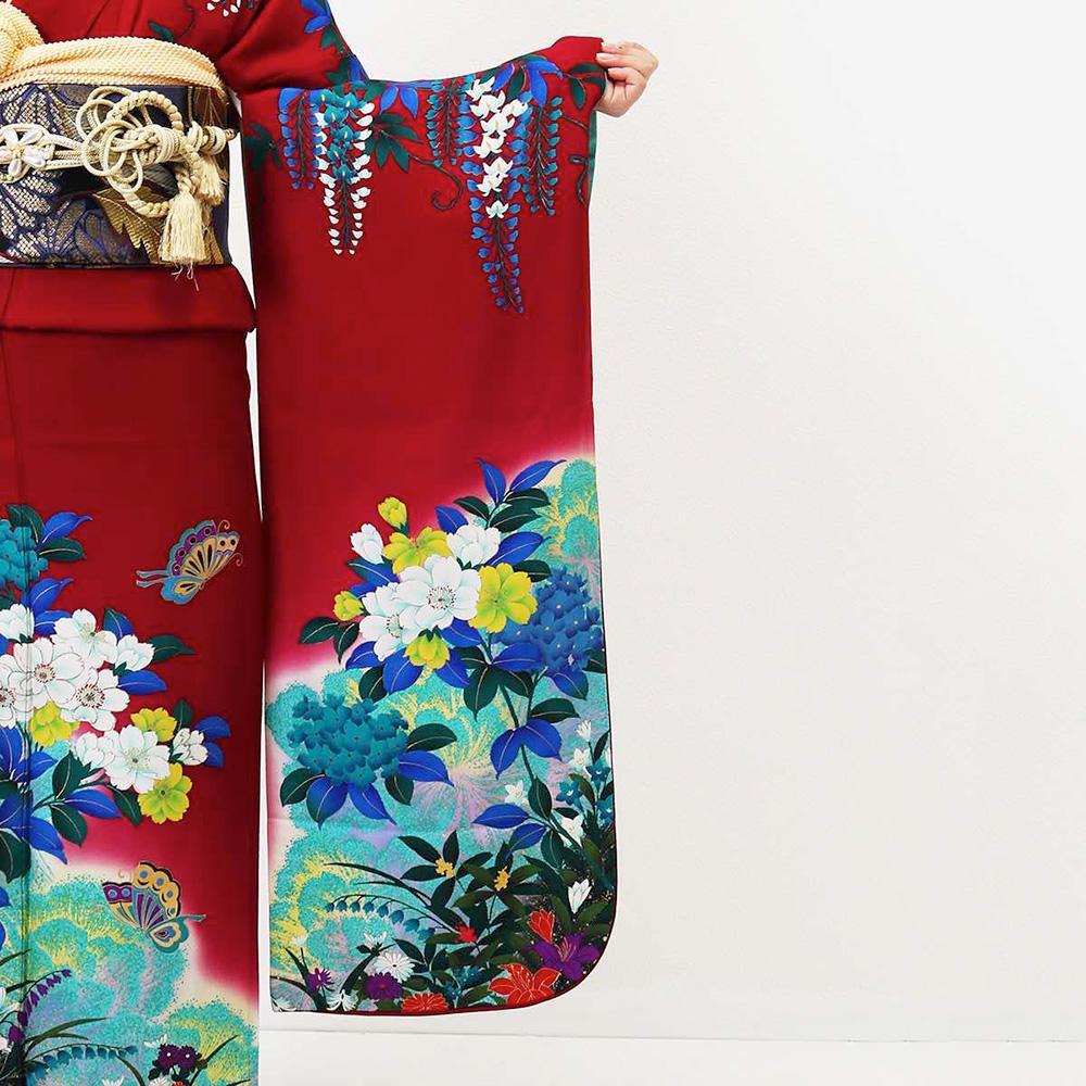|送料無料|【レンタル】【成人式】 [安心の長期間レンタル]【対応身長155cm〜170cm】【正絹】レンタル振袖フルセット-124|花柄|レトロ|