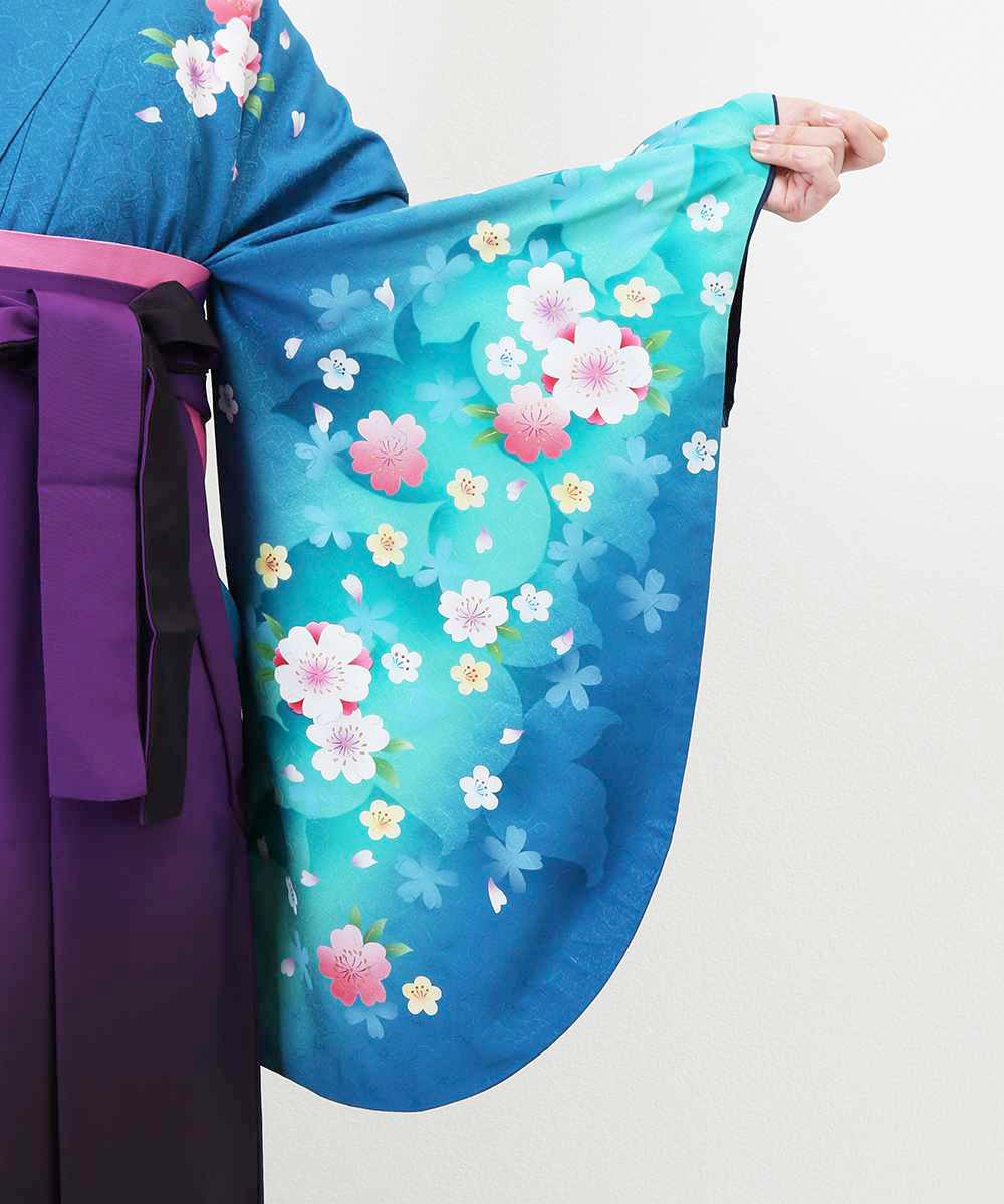 |送料無料|【対応身長157cm〜165cm】【正統派】卒業式レンタル袴フルセット-517|マルチカラー|花柄|桜|青|水色|ピンク|紫|